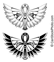 Two ankhs with wings - Two artistically drawn, contoured...