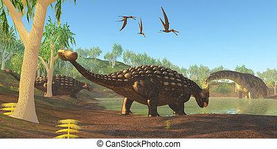 Ankylosaurus - Two Ankylosaurus dinosaurs come down to a...