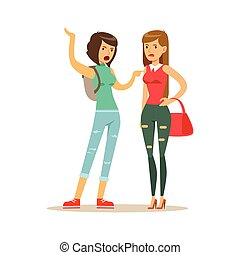 Two annoyed women characters arguing and yelling on each other, negative emotions concept vector Illustration