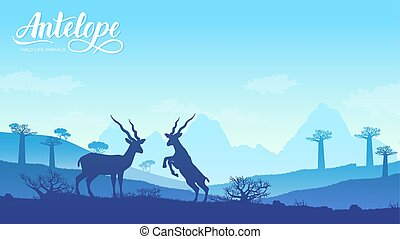 two antelopes play with each other illustration. Wild animal against the background of nature africa concept. Wild animal in the savannah