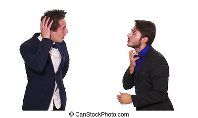 Two anxious scared guys sweating and having heavy breathing