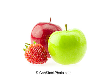 two apples and strawberries isolated on white