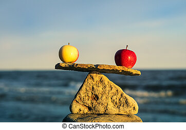 Two apples in balance