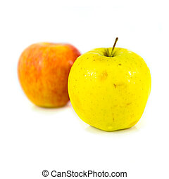 Two apples isolated over white background