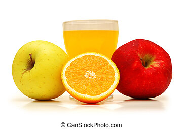 Two apples, juice and orange isolated on white