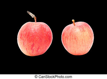 Two apples on a black background