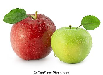 Two apples on a white background