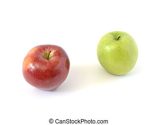 two apples red and green on a white background