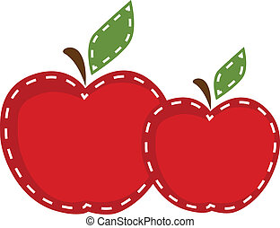 Two apples with cute stitching on a transparent background,...