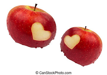 Two apples with hearts on a white