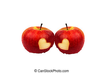 Two apples with hearts, valentines
