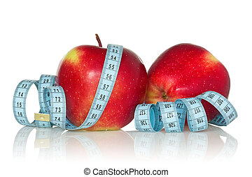 two apples with  measure tape