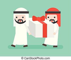 Two Arab Businessman carrying big present box, business...