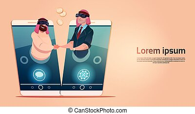 Two Arab Businessman Hand Shake Agreement Wear Digital Virtual Glasses Cell Smart Phone Network Meeting