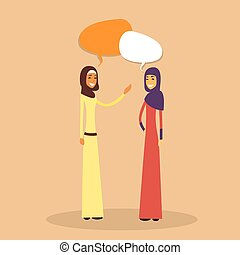 Two Arab Woman Muslim Chat Bubble, Discussion Communication...