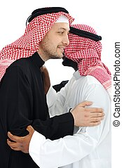 Two Arabic men having warm meeting