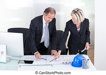 Two Architects Looking At Plans
