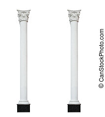 two architectural column isolated on white background