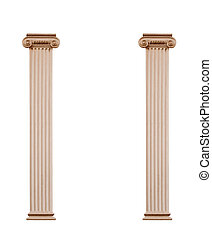 Two architectural columns isolated on white background