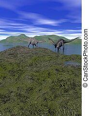 two argentinosaurus dinosaur - 3d render