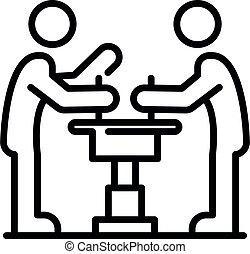 Two arm wrestle icon, outline style - Two arm wrestle icon. ...