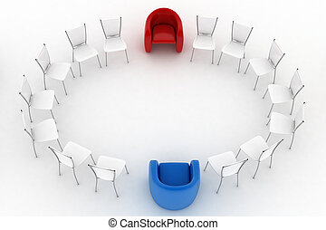 Two armchairs of chief and chairs - Two arm-chairs of chief...