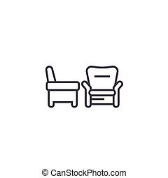 two armchairs vector line icon, sign, illustration on...
