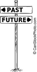 Two Arrow Sign Drawing of Past and Future Decision Arrows