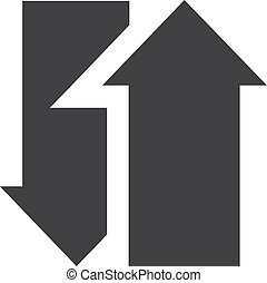 Two arrows icon in black on a white background. Vector illustration