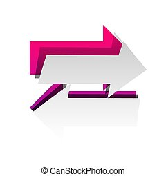 Two arrows left-right sign. Vector. Detachable paper with shadow