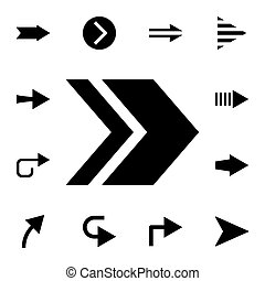 Two arrows to the right flat vector icon in arrows pack