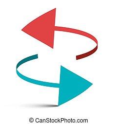 Two Arrows Vector 3D Illustration Logo Symbol