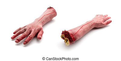 Two artificial human bloody arms isolated on white ...