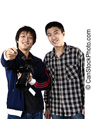 two asia man with camera