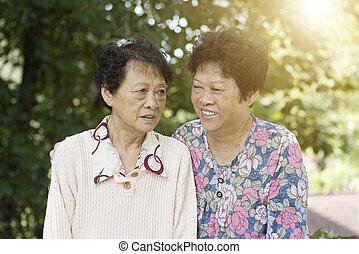Two Asian elderly women
