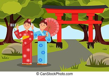 Two asian women making selfie in front of Japanese Torii Gate. Young girls in kimonos. Flat vector landscape with green trees, grass and pathway