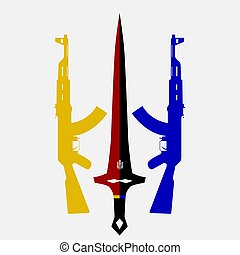 two assault rifles and a sword