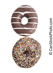 Two Assorted Donuts isolated on a white background