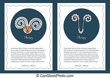 Two astrological backgrounds with zodiac signs Aries, place for text and wavy frame. A pair of isolated vintage templates for cards, flyers, posters, banners, horoscopes design, brochures. Vector.
