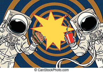 Two astronauts are eating lunch fast food