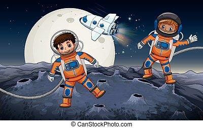 Two astronauts exploring on strange planet illustration
