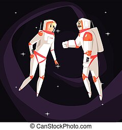 Two Astronauts In Space Suits Chatting