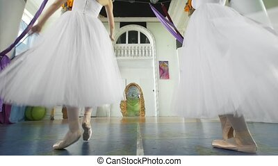 Two attractive ballerinas synchronously perform exercises in...