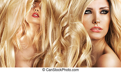 Two attractive blond ladies in a beauty salon