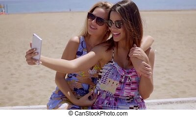Two attractive female friends taking a selfie - Two...
