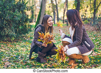 Two attractive stylish woman collecting leaves