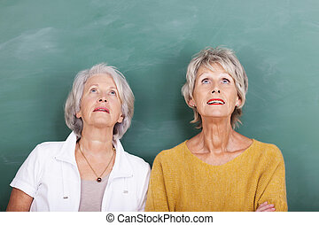 Two attractive thoughtful senior women standing side by side...