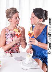 two attractive women having a light dinner