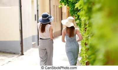 Two attractive women walking on the alley and talk - Back...