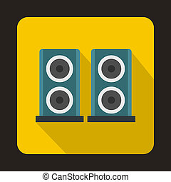 Two audio speakers boxes icon, flat style